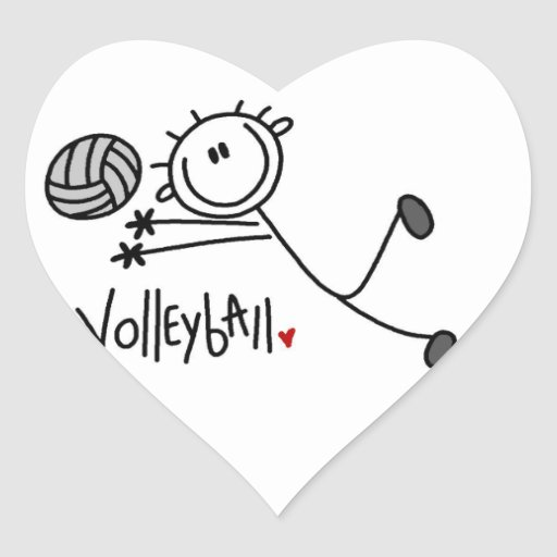 Basic Male Stick Figure Volleyball Heart Stickers