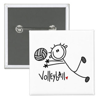 Basic Male Stick Figure Volleyball Pinback Button