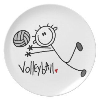 Basic Male Stick Figure Volleyball Dinner Plate