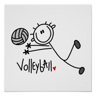 Basic Male Stick Figure Volleyball Poster