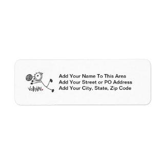 Basic Male Stick Figure Volleyball Return Address Label