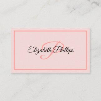 Basic Misty Rose  Monogram Letter Professional Business Card