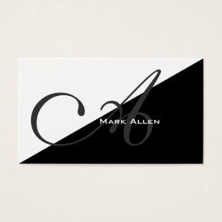 Basic Modern Black Triangle Monogram Business Card