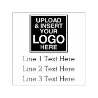 Basic Office or Business Address Label with logo Self-inking Stamp