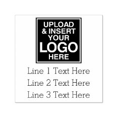 Basic Office Or Business Address Label With Logo Self-inking Stamp at Zazzle