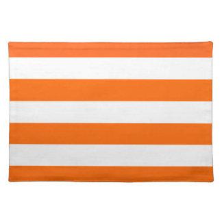Basic Orange and White Stripes Pattern Placemat