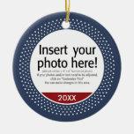 Basic Photo Frame For Christmas Double-Sided Ceramic Round Christmas Ornament