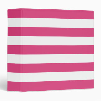 Basic Pink and White Stripes Pattern 3 Ring Binder