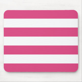 Basic Pink and White Stripes Pattern Mouse Pad