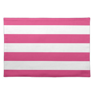 Basic Pink and White Stripes Pattern Placemat