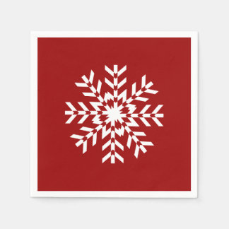 Basic Red and White Snowflake Ski Season Paper Napkin