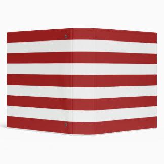 Basic Red and White Stripes Pattern Binder