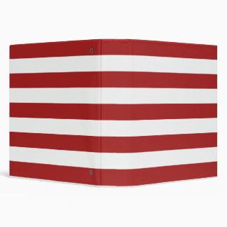 Basic Red and White Stripes Pattern Binders