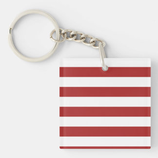 Basic Red and White Stripes Pattern Keychain