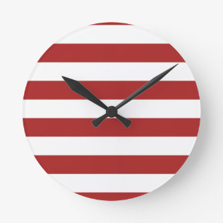Basic Red and White Stripes Pattern Round Clock