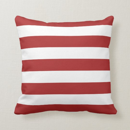 Basic Red and White Stripes Pattern Throw Pillow