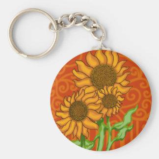Basic Round Button Keychain/Sunflower Trio Keychain