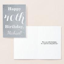 Basic Silver Foil 40th Birthday   Custom Name Foil Card