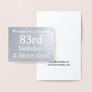Basic Silver Foil 83rd Birthday Greeting Card