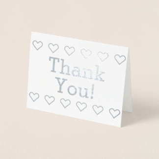 """Basic Silver Foil """"Thank You!"""" + Heart Shapes Card"""