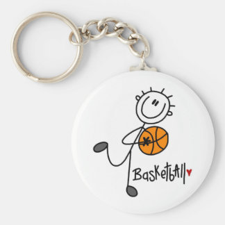 Basic Stick Figure Basketball T-shirts and Gifts Keychain