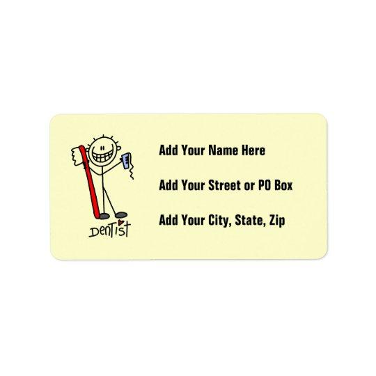 Basic Stick Figure Dentist Label