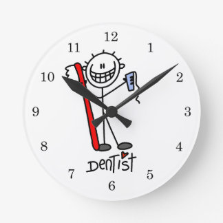 Basic Stick Figure Dentist Round Clock