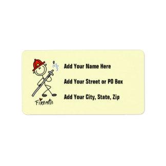 Basic Stick Figure Fireman T-shirts and Gifts Address Label