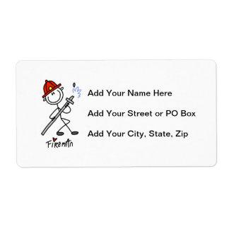 Basic Stick Figure Fireman T-shirts and Gifts Shipping Label