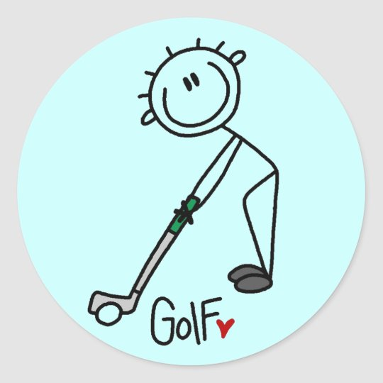 Basic Stick Figure Golf T-shirts and Gifts Classic Round Sticker