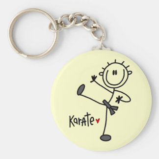 Basic Stick Figure Karate T-shirts and Gifts Basic Round Button Keychain