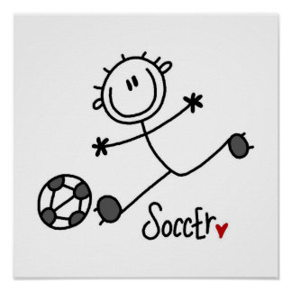 Basic Stick Figure Soccer Player T-shirts and Gift Poster