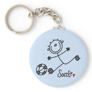 Basic Stick Figure Soccer T-shirts and Gifts keychain