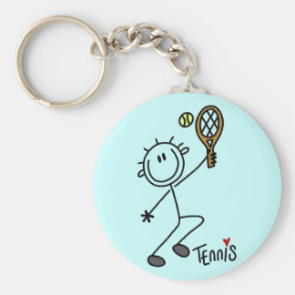 Basic Stick Figure Tennis Tshirts and Gifts Keychain