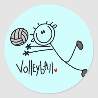 Basic Stick Figure Volleyball Tshirts and Gifts Classic Round Sticker