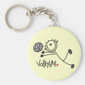 Basic Stick Figure Volleyball Tshirts and Gifts Basic Round Button Keychain