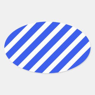 Basic Stripe 1 Blue Oval Sticker