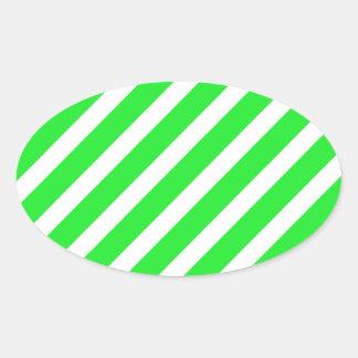 Basic Stripe 1 Green Oval Sticker