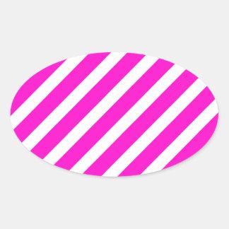 Basic Stripe 1 Pink Oval Sticker