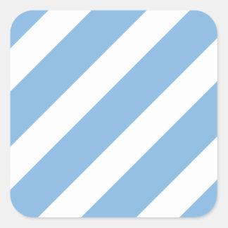 Basic Stripe 1 Placid Blue Square Stickers
