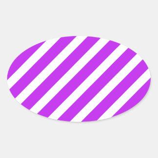 Basic Stripe 1 Purple Oval Sticker