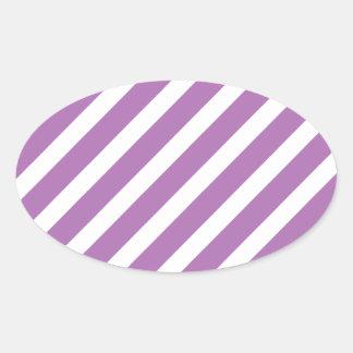 Basic Stripe 1 Radiant Orchid Oval Sticker