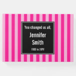 [ Thumbnail: Basic, Striped Pink Memories Guestbook ]