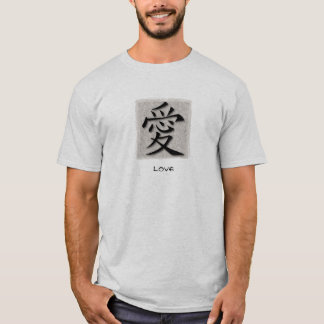 Basic T-Shirts Chinese Symbol For Love On Concrete