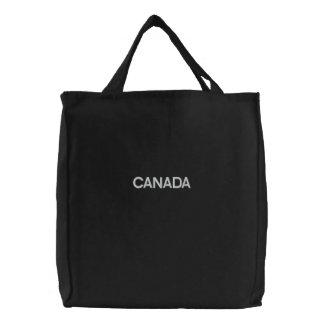 Basic Tote Bag Embroidered CANADA Black/White