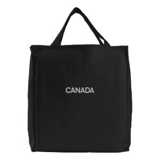 Basic Tote Bag Embroidered CANADA Black/White