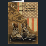"""Basic Training Congratulations Combat Boots Card<br><div class=""""desc"""">Pencil Scetched Boots,  The Flag Blended Behind a Grunge Background with Large Version of Combat Boots In Front Of The Flag</div>"""