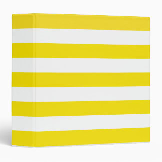 Basic Yellow and White Stripes Pattern 3 Ring Binder
