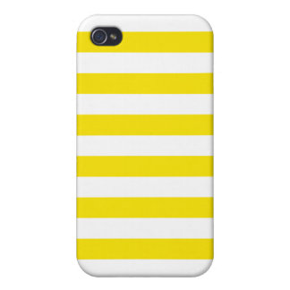 Basic Yellow and White Stripes Pattern iPhone 4/4S Case