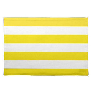 Basic Yellow and White Stripes Pattern Placemat